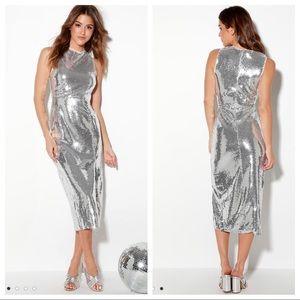 Lulu's High Shine Silver Sequin Bodycon Dress